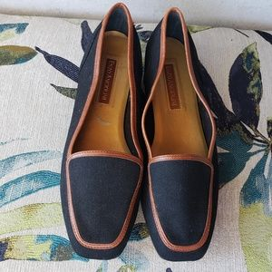 Liberty flats canvas leather 8 Wide Enzo Angiolini